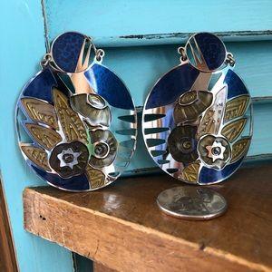 Vintage Berebl Pierced Post Enameled Earrings